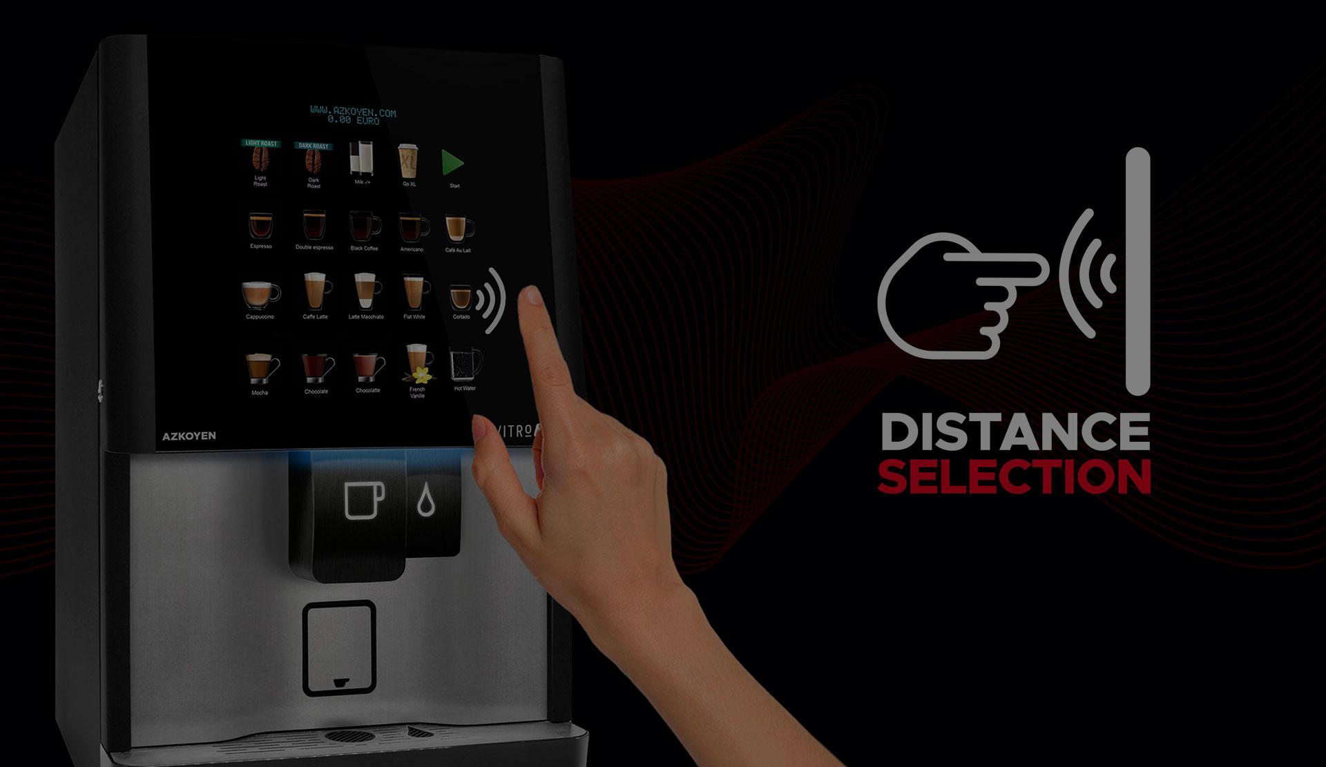 Die Azkoyen hat die Technologie Distance Selection patentiert, welche die Auswahl von Produkten in automatischen Maschinen ermöglicht, ohne die Notwendigkeit, Oberflächen zu berühren